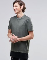 Asos Super Longline T-Shirt With Side Vents And Contrast Hem In Oil Wash