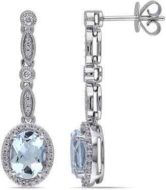 Diamond Select Cuts 14K 2.46 Ct. Tw. Diamond & Aquamarine Earrings