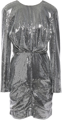MSGM Ruched Sequined Tulle Mini Dress