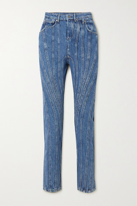Thierry Mugler Paneled High-rise Straight-leg Jeans - Blue