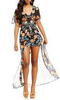 As U Wish V-Neck Floral Print Maxi Romper