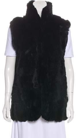 Adrienne Landau Pointed Collar Fur Vest