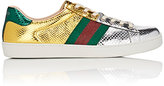 Gucci Men's New Ace Metallic Snakeskin Sneakers-SILVER