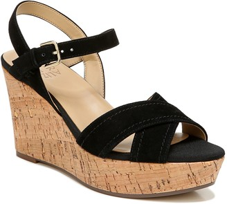 Naturalizer Suede Ankle Strap Wedge Sandals - Zia