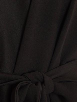 Quiz Curve Scuba Crepe Waterfall Belted Longline Blazer - Black