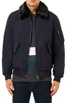 Topman Men's Derby Flight Jacket With Detachable Faux Fur Collar