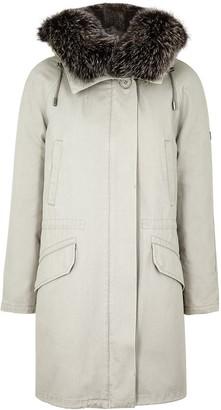 Yves Salomon Light Grey Fur-lined Twill Parka