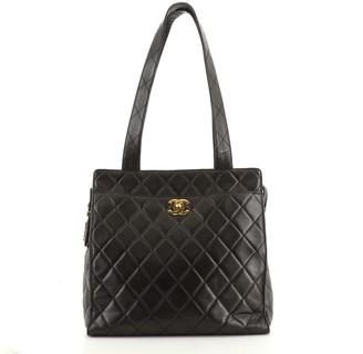 Chanel Vintage Front Pocket Shoulder Bag Quilted Lambskin Medium