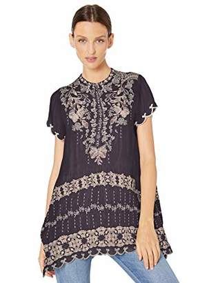 Johnny Was Women's Short Sleeve Emroidered Tunic
