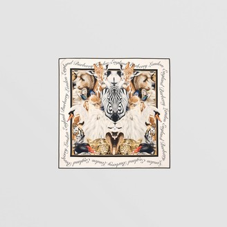Burberry Animalia Print Silk Square Scarf