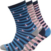 Original Penguin Womens Three Pack Socks Stripe Blue Pink