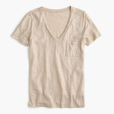 J.Crew Linen V-neck pocket T-shirt in metallic