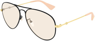 Gucci Two-Tone Metal Aviator Sunglasses