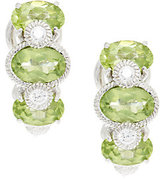 Judith Ripka Sterling & Diamonique Peridot Huggie Hoops