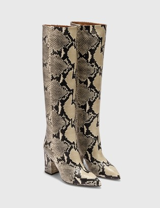 Paris Texas Python Printed Leather Block Heel Boot
