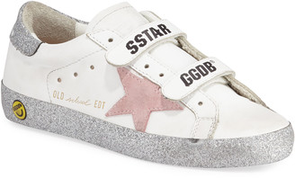 Golden Goose Girl's Old School Glitter Sole Low-Top Sneakers, Baby/Toddler