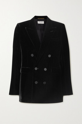 Saint Laurent Double-breasted Velvet Blazer - Black