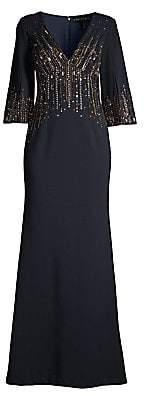 Aidan Mattox Women's Beaded Crepe Evening Gown