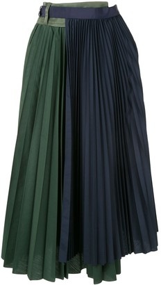 Sacai Panelled Pleated Skirt