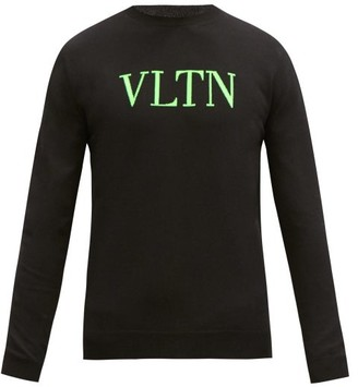Valentino Logo-jacquard Cotton-blend Sweater - Black Green