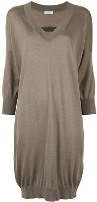 Brunello Cucinelli Embellished Neck Knit Dress