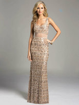 Lara Dresses - Bedazzled V-neck Sheer Overlay Long Sheath Gown 33026
