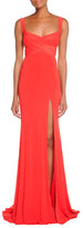 Donna Karan Cross-Front Exposed-Back Gown