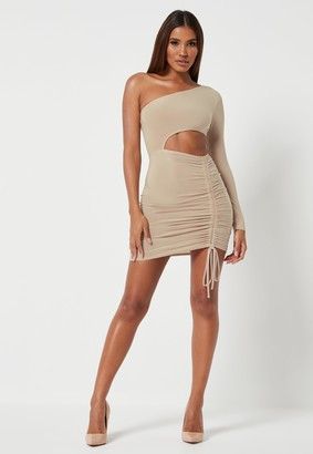 Missguided Stone Slinky Seam Free One Shoulder Cut Out Mini Dress