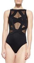 OYE Swimwear Esther Strappy Mesh One-Piece Swimsuit, Black