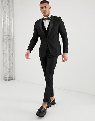 French Connection Slim Fit Peak Satin Lapel Tuxedo Trousers-Black