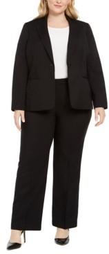 Le Suit Plus Size One-Button Straight-Leg Pantsuit