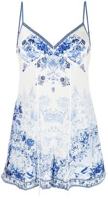 Camilla Floral-Print Silk Playsuit