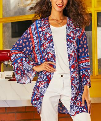 Suzanne Betro Weekend Women's Kimono Cardigans 101NAVY - Blue Paisley Floral Patchwork Ruffle-Sleeve Kimono - Women