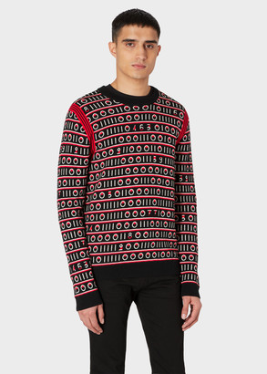 Paul Smith Men's Black 'Code Stripe' Wool-Blend Sweater