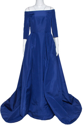Carolina Herrera Royal Blue Silk Off Shoulder Gown L