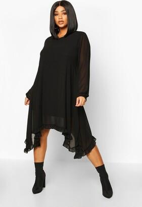 boohoo Plus Ruffle Dip Hem Longsleeve Smock Dress
