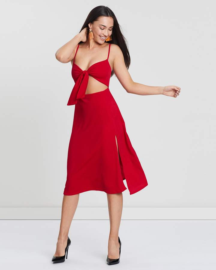 Missguided Tie-Front Split Midi Dress