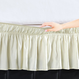Orient Home Collection Easy Wrap Platform Free Dust Ruffle Bed Skirt, Pale Yellow, Queen/King