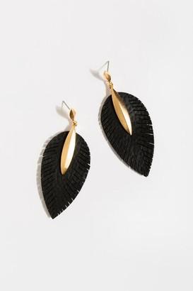 francesca's Brigette Leather Feather Drop Earrings - Black