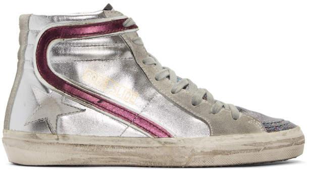 Golden Goose Silver Glitter Slide High-Top Sneakers