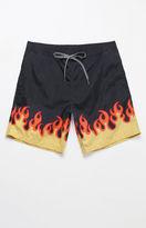 "T&C Surf Designs Flame Print 17"" Swim Trunks"