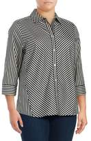 Foxcroft Plus Fallen Ivy Cotton Button-Down Shirt