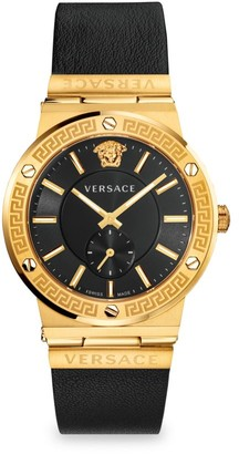 Versace Greco Logo Goldtone Chronograph Leather Strap Watch