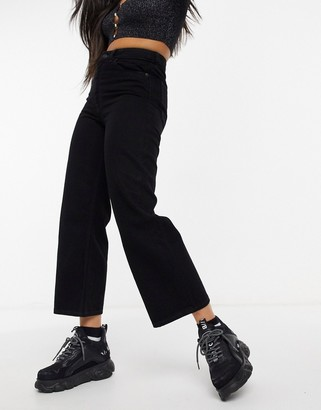 Monki Mozik organic cotton wide leg cropped jeans in vintage black