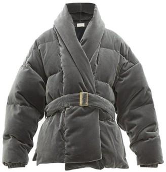 Alexandre Vauthier Belted Down-filled Cotton-velvet Jacket - Womens - Light Grey
