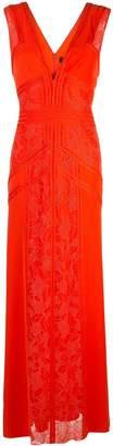 Tadashi Shoji lace inserts evening dress