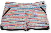 Karl Lagerfeld Tweed Fringe Dolphin Shorts, Multicolor, Size 12-16