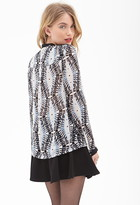 Forever 21 contemporary abstract print sheer top