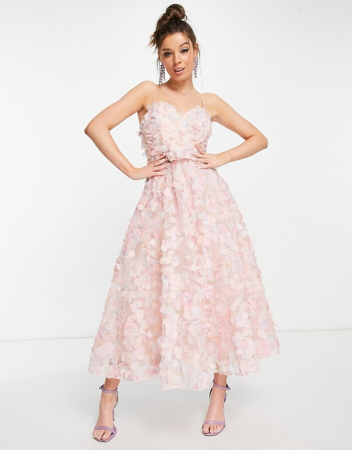 Thumbnail for your product : Forever U 3d embellished midi dress in pink