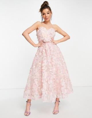 Forever U 3d embellished midi dress in pink